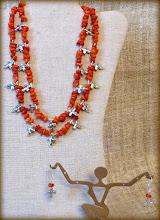 Photo: #187 BLESSING ~ ХРEЩЕННЯ Coral nuggets, silver plate $140/set SOLD