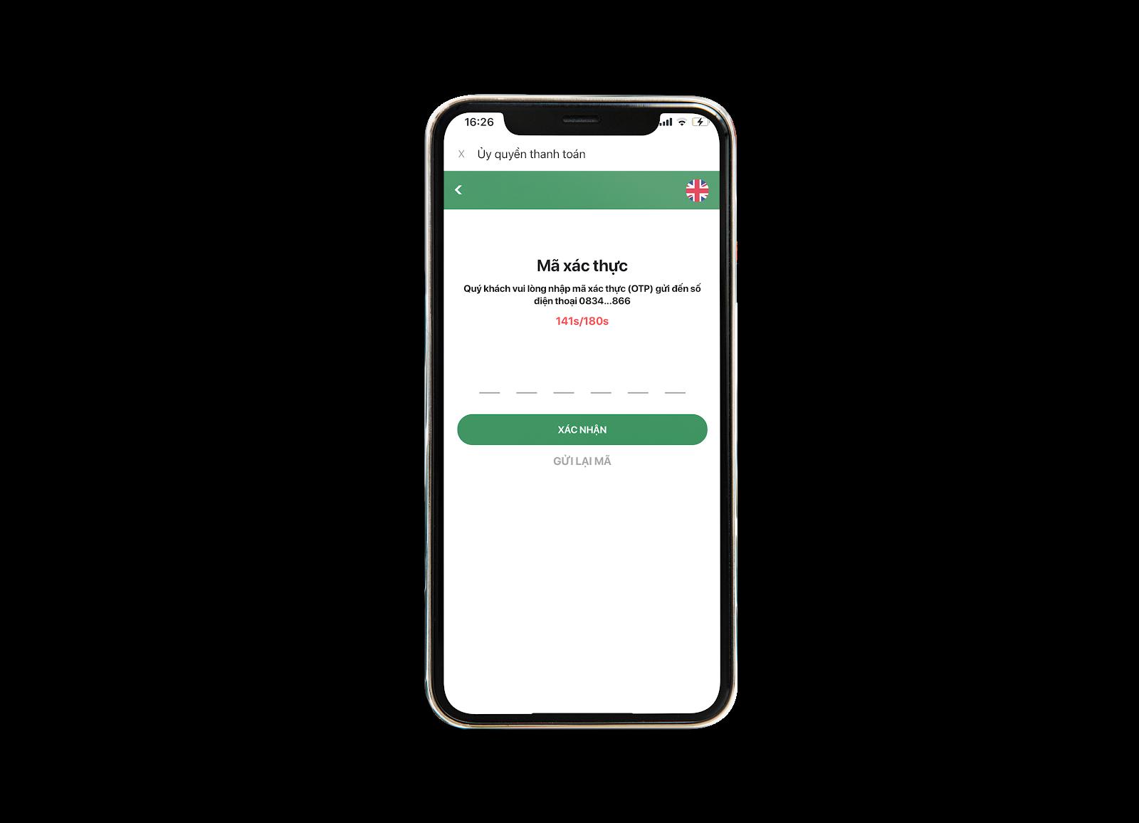Nhập mã OTP để xác nhận mua vé Vietlott online