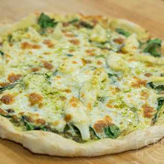 Spinach Artichoke & Pesto Pizza.
