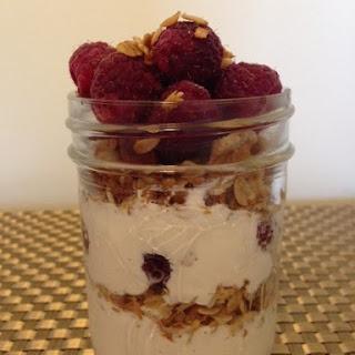 Yogurt Parfait With Granola & Raspberries