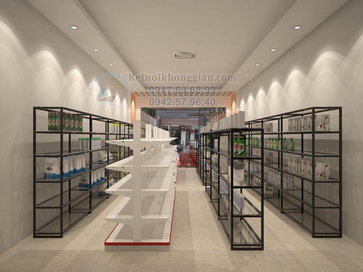 thiết ké cửa hàng tạp hóa đẹp, thiết kế siêu thị mini