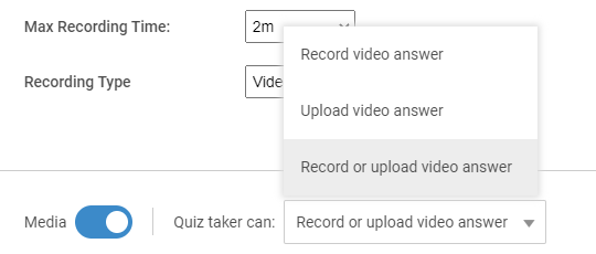 Customizing record video interview question type