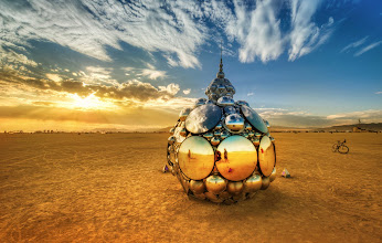 Photo: You know my profile photo? It was taken by +Luke Severnright in front of THIS cool piece of art at Burning Man. That's my bike there to the right...  Luke was just hanging out here, taking photos of random people that rode by and stopped to look.