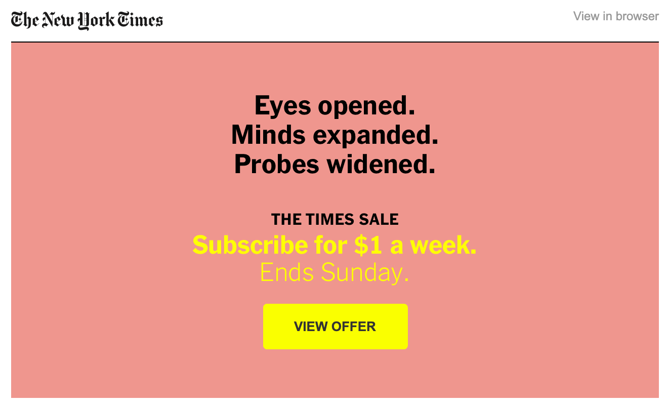 new york times sales ad example