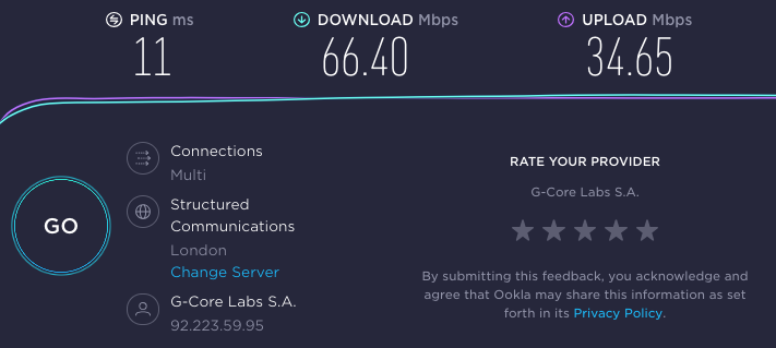 Reviewer's speed results on Celo's UK server