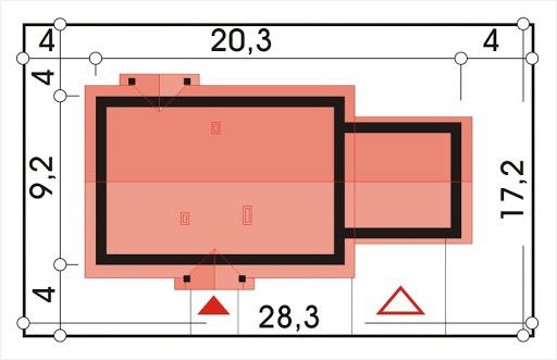 Alex wersja F z podwójnym garażem strop Teriva - Sytuacja
