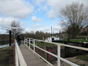 Photo: Junction of the canal (see locks on right) with the River Severn, looking toward the city center