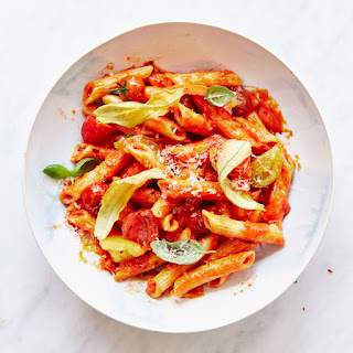 Risotto-Style Penne with Tomatoes and Zucchini Blossoms