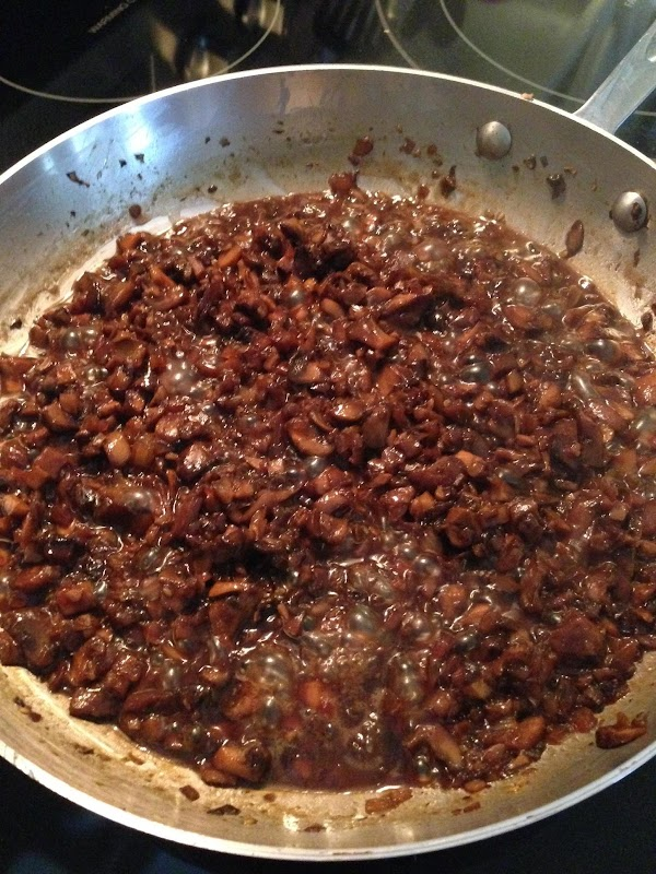 To the mushrooms, add the teriyaki sauce, sherry, salt and pepper.  Cook until...