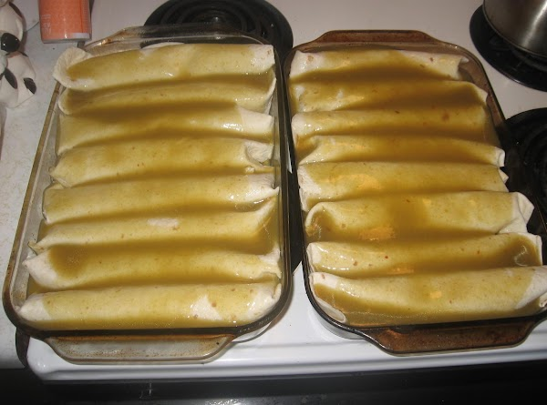Cover dish (s) with enchalata sauce (red or green), and top with grated cheese.