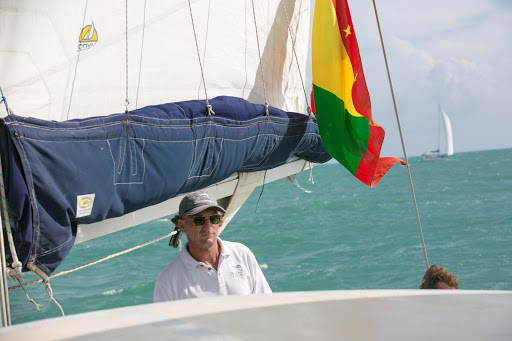 grenada-shadowfax-captain.jpg - The captain of the Shadowfax during a tour along Grenada's western coastline.