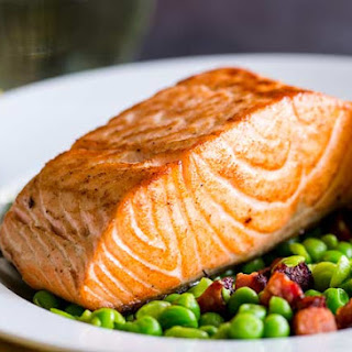 Seared Salmon with Peas and Chorizo.