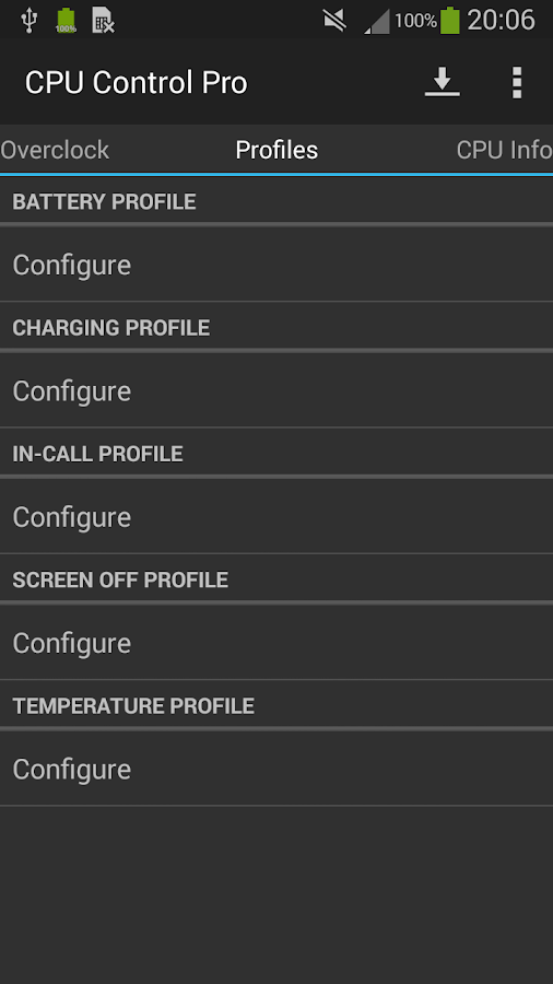 CPU Control Pro- screenshot