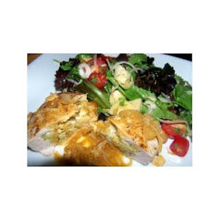 Savory Stuffed Chicken Breasts With Artichoke and Herb Salad.