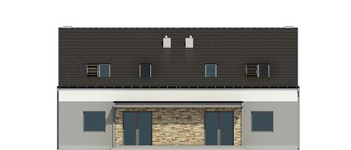 Mazurek z garażem 1-st. bliźniak A-BL2 - Elewacja tylna