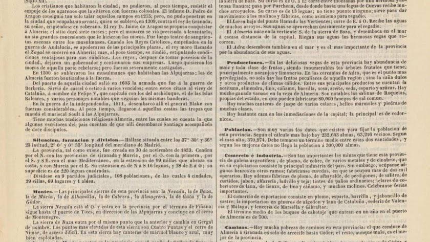 El 'atlas de Bachiller', una 'fotografía' de la Almería del siglo XIX.