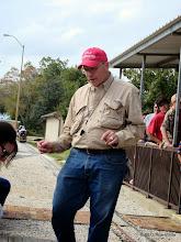 Photo: Train Master and right now, station master Bob Barnett       2013-1116 RPW