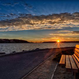 The Bench by Kevin Denton - Landscapes Sunsets & Sunrises ( bench, sunsets, landscape,  )
