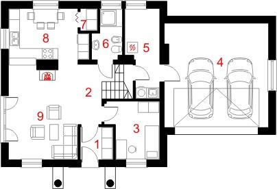 Dom przy Cyprysowej 28 - Rzut parteru