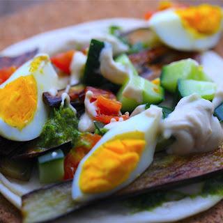 Aubergine, Egg and Tahini Wrap.