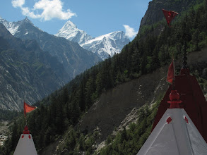 Photo: Day 4 - View of the distant Bhagirathi range from the check post at the entrance of Gangotri National Park