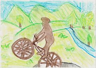 """Photo: praca Oliwii""""Jeżdżę rowerem, bo jest fajnie"""""""