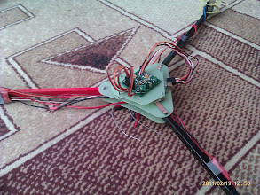 Photo: The tricopter with most of the electronics in place.