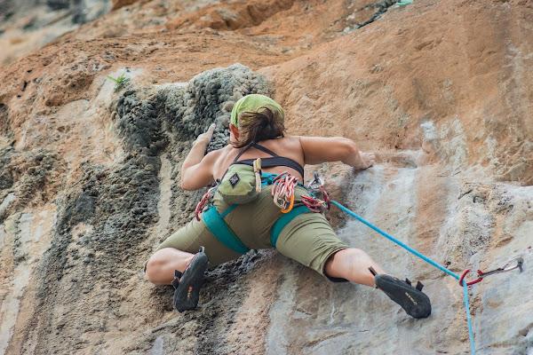 Lead climbing at Railay Beach