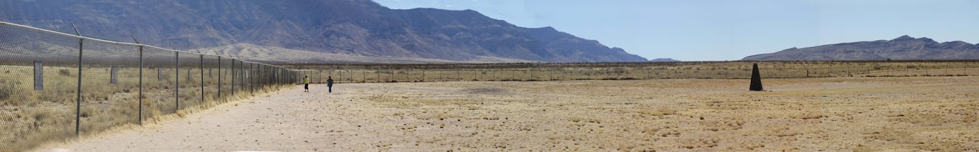 Photo: Trinity Site  with marker and fence with historical marker images on it - this should be viewed with the last image in mind as they each show half of the site