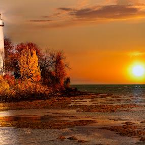 Autumn Sunrise by Pat Eisenberger - Landscapes Sunsets & Sunrises ( point, autumn, fall, lighthouse, sunrise, aux, barques,  )