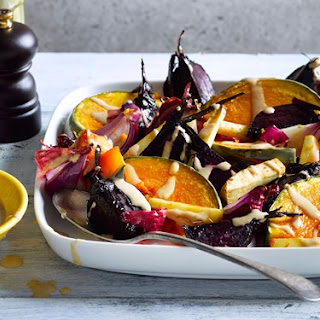 Roasted Vegetables with Tahini Miso Dressing Recipe