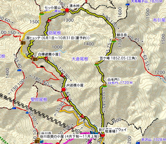 Mt. Tanigawa-Bateikei The map of the climb