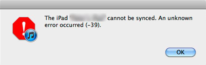 [Solved] iPhone/iPad/iPod Cannot Be Synced or Problem Downloading The Software with Error -39