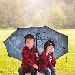Under my Umbrella by Jenny Hammer - Babies & Children Children Candids ( umbrella, boys, raining, cute, cousins, kids )