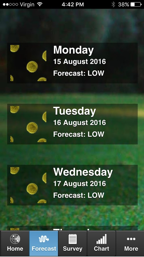 Sydney Pollen Count & Forecast- screenshot