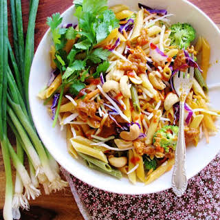 Vegetables And Noodle Salad With Spicy Peanut Butter Dressing.