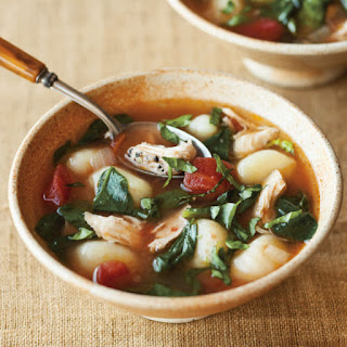 Chicken Soup with Gnocchi, Basil and Parmesan.