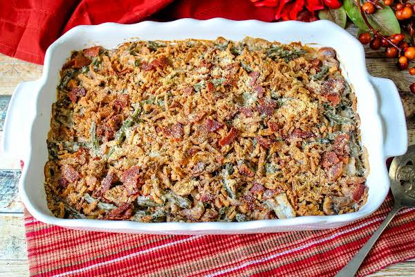 Delectable Bacon & Mushroom Green Bean Casserole Ready To Serve.