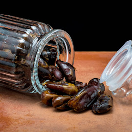 Dates by Helen Nickisson - Food & Drink Cooking & Baking ( glass jar, baking, spilling, fruit, dates, sweets )