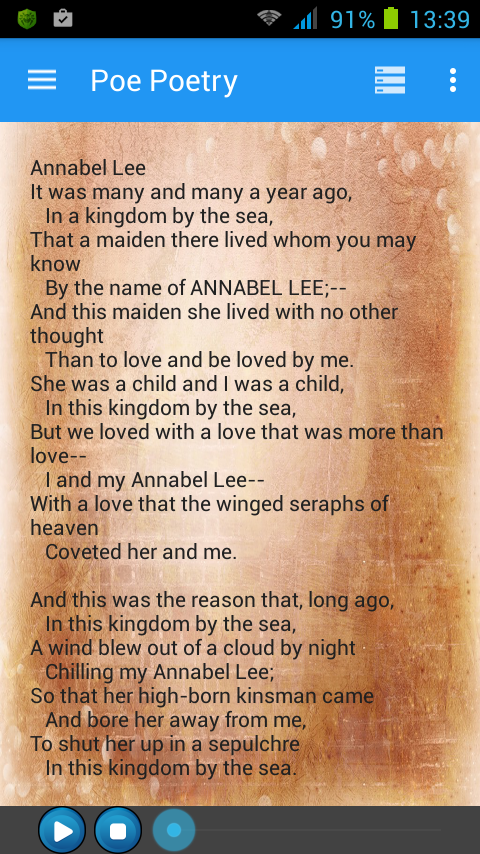 """the role of the poet in the poem annabel lee by edgar allan poe Edgar allan poe's poem """"annabel lee"""" is a great poem poems annabel lee poem the raven] 401 poe shows that he longs for the reader to be with annabel."""