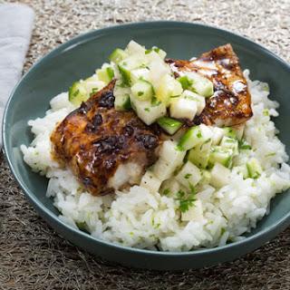 Tamarind-Glazed Cod with Lime Rice & Cucumber Relish Recipe