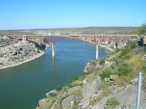 Photo: Looking upstream at the highway bridge over the Pecos River.