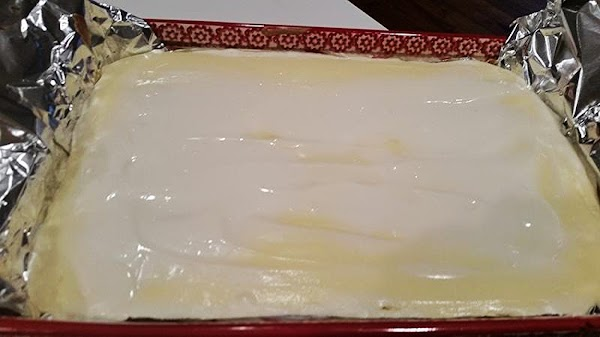 After 40 minutes or until center of cake is almost set, remove from oven...
