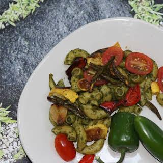 Pasta With Roasted Vegetables And Basil-Hemp Pesto.