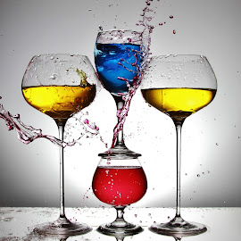 Glasses and coloured water by Peter Salmon - Artistic Objects Glass ( colour, water, splash, glasses, glass )