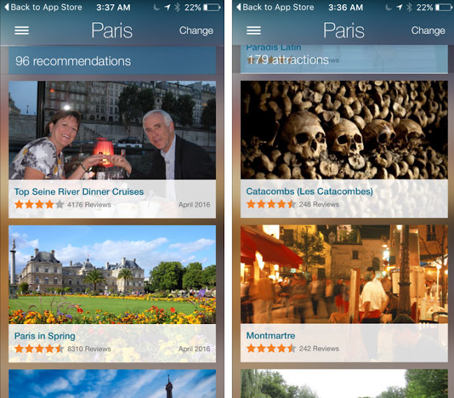 Viator's consumer-facing app offers a wealth of information, images and useful recommendations from travelers.