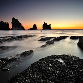 Motukikie Rocks, West Coast New Zealand by Nadly Aizat Nudri - Landscapes Sunsets & Sunrises ( motukikie, sunset, long exposure, west coast, new zealand, slow shutter )