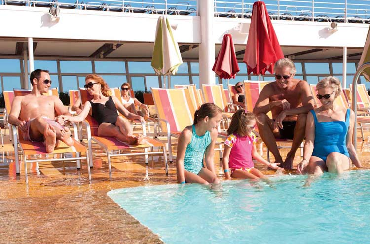 On the pool deck of Allure of the Seas: Make your next vacation a multigenerational affair.