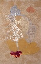 """Photo: Tether 11"""" x 17""""  Hand embroidery and beadwork on acrylic painted linen.  All rights reserved. c. Karin Birch 2016"""