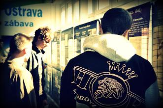 """Photo: Putovní výstava - """"Genocida Romů v době 2. světové války"""" (vestibul školy, březen 2013)."""